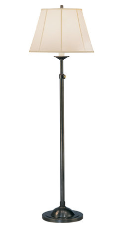 Robert Abbey - Alvin Floor Lamp, Deep Patina Bronze - A true classic, this floor lamp will reside comfortably next to any sofa or chair. It has a deep patina-bronze base and a simple barley fabric shade with piping; it comes with a three-way switch for precision lighting.