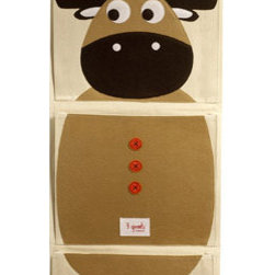 Organic Wall Pocket Organizer Moose Brown - This moose is complete fun. Add some fun to your child's room while keeping clutter at bay with his happy little self. This pocket organizer offers three huge pockets and is made from organic cotton canvas with eco-spun felt.