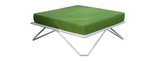Haskell - Pearl Series 9 Sultan, With Leaf Green Cushion - Think outside the box — outside. This nod-to-mod steel piece comes with or without a cushion and is sure to perk up any outdoor room. At 30 inches square and 8 inches high, it makes a perfect side or low cocktail table or perch to kick your feet up in style.