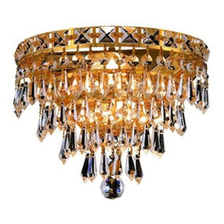 Elegant Lighting - Elegant Lighting 2526W12G Tranquil 3-Light Crystal Wall Sconce, Finished in Gold - Elegant Lighting 2526W12G Tranquil 3-Light Crystal Wall Sconce, Finished in Gold with Clear CrystalsElegant Lighting 2526W12G Features: