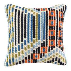 "Trina Turk - Trina Turk Madera Blue Bargello Pillow - Eclectic in style, the Trina Turk Madera bargello pillow exudes globally-inspired glamour. The decorative accessory's colorful hues form an abstract mosaic pattern for a modern look. Blue, orange, black and green; 20""W x 20""H; 100% linen; Dry clean only; Down pillow insert included"