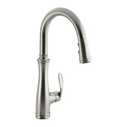 """Kohler - Kohler K-560-VS Vibrant Stainless Bellera Bellera Pullout High Arch - Product Features:  Premium metal construction of faucet body and handles ensures reliability Covered by Kohler s lifetime limited warranty Kohler finishes are guaranteed to resist corrosion and tarnishing High arch gooseneck spout allots more space to work and greater access to all areas of the sink Features a three function pullout spray faucet head Includes escutcheon (cover plate) for sinks with 3 faucet holes Designed to install easily with standard U.S. plumbing  connections All hardware needed for installation is included  Product Technologies / Benefits:  ProMotion™: Light, quiet nylon hose with ball joint configuration on the pull-down spray head provides superior ergonomic and easy-to-use functionality MasterClean™: Translucent spray nozzles prohibit mineral buildup for easy cleaning.  Product Specifications:  Overall Height: 16-3/4"""" (measured from counter top to the highest point on faucet) Spout Height: 10-3/16"""" (measured from counter top to spout outlet) Spout Reach: 7-7/8"""" (measured from center of faucet base to center of spout outlet) Flow Rate: 1.8 GPM (gallons-per-minute) Single handle is included with the faucet ADA compliant Low lead compliant - meeting federal and state regulation for lead content  About Kohler: Gracious living is characterized by qualities of charm, good taste, generosity of spirit and the enhancement of nature. It is Kohler's mission that you can improve your sense of gracious living with every experience you have with a Kohler product or service. With everything that Kohler does it lives on the leading edge of design and technology, while maintaining a constant le"""