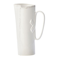 """Vietri - Vietri Italian Stoneware Lastra 14""""H, 96 oz Tall Tavern Pitcher, White - The Lastra tavern pitcher will be a great addition to your Lastra collection. Use the pitcher for displaying a lovely bouquet of flowers or for serving your favorite cold drink to a crowd! The overlapping wooden strap of the original cheese-making tool inspired this collection. Hand formed in Tuscany of Italian stoneware. Dishwasher safe."""