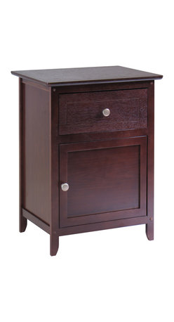 Winsomewood - Night Stand/ Accent Table With Drawer And Cabinet For Storage, Knob Handle - If you're ready to get rid of that old TV stand next to your bed, now's the time. You deserve a real piece of furniture that has a drawer and a door you can actually close. Just think how much tidier your room will be.