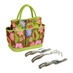 Picnic at Ascot - Gardening Tote with Tools, Floral - Casual Style defines this durable multi-pocket gardening tote. Set includes three top quality, heavy gauge stainless tools with comfort grip handles.  Roomy interior is great for transporting supplies & side pockets have room for a beverage and snack. Designed and Assembled in the USA. Lifetime Warranty.