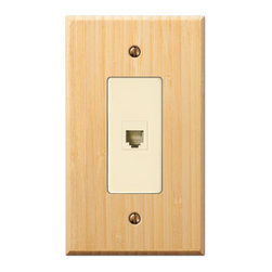 Jackson Deerfield Manufacturing - Bamboo Natural Finish Wood Single Phone Jack Switchplate (JDM8417SPJ) - Bamboo Natural Finish Wood Single Phone Jack Switchplate