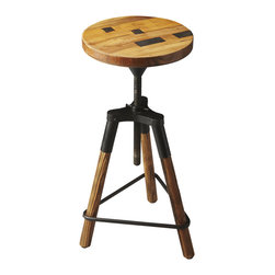 Recycled Wood Adjustable Barstool - This barstool ups the edge factor of a room in a huge way. Iron and recycled wood interlace to form a pyramidal frame in which the rustic wood seat can be adjusted up and down, making it great addition to any table�ۡ����no matter the table�ۡ���_s or person�ۡ���_s height.