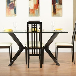 """Aeon Furniture - Greenwich Dining Table Set with District-2 Ch - Set includes table and 4 chairs. Greenwich Dining Table. High Quality 10 mm Glass Top. Solid Beech Wood Coffee Finished Base. Comfortably Seats 6 People. CARB Rated. Assembly Required. Base: 24 in. L x 45.5 in. W x 29 in. H. 59 in. L x 35.5 in. W x 29.5 in. H (106 lbs.). District-2 Dining Chairs:. Classic European Design. High Back Extends Below The  Seat. Solid Beech Wood Construction. Rich Coffee Finish. Beige Leatherette Fire Resistant Padded Foam Seat. CARB Rated. Assembly Required. 19.75 in. L x 18 in. W x 38.75 in. H (11 lbs.)With its great look and contemporary design, this extendable dining table meets your dining and entertainment needs while enhancing the look of your home.  The table is constructed of a solid beech wood frame, stained in a rich coffee finish.   The self-contained 17.5"""" extension leaf easily transforms this table from an intimate piece to the social center of your home. Classically inspired by European design, this charismatic dining chair features exquisite unmistakable styling.   Frame is crafted from solid beech wood.  Back extends below the seat adding a sophisticated elegant touch."""