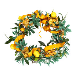 Lemon and Olive Wreath - Extend an olive branch to a long-lost pal or perhaps keep this colorful circle of wonder for yourself. An interweave of lemons, olive leaves and silken ribbon, this wreath is a stunning door or table accent, perfect for a variety of special occasions or as everyday decor.
