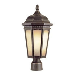 Trans Globe Lighting - Trans Globe Lighting Rustic Lodge Weathered Bronze Outdoor Post Light - Weather resistant cast aluminum. Decorative wall bracket and lantern. Fits Standard 3 inch post top mounts. Trans Globe Lighting is proud to be a leading manufacturer of residential lighting lamps and home decor since 1986. Born from the hopes and aspirations of two entrepreneurial spirits Trans Globe Lighting is a true testament to the American dream. Their company mission from the start was exceeding the industry standard in value style and selection. Today that mission remains stronger than ever.  In 2005 they expanded into a larger distribution facility in beautiful Valencia CA. This enables them to stock a steady on-hand inventory of over 3000 SKU's ranging from small outdoor porch lights to massive Bohemian crystal chandeliers. Features include Weather resistant cast aluminum Fits standard 3 inch post top mounts Unscrew top cap to replace bulbs 6 window light frame in glowing tea stain glass Tuscan Italian outdoor lighting collection for rich accent lighting. Specifications Finish: Weathered Bronze Material: Cast Aluminum Glass Bulb Type: Medium - E-26 - E-27 - Type A Number Of Bulbs: 1 Watt Per Bulb: 60 Wattage: 60 Bulbs Included: No Suitable For: Outdoor use Ul Listed: WET Energy Saving: No.