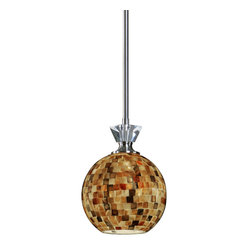 Uttermost - Pearlessa 1 Light Mosaic Mini Pendant - Make this mosaic masterpiece a part of your decor. Lovely mother of pearl tilework adorns the globe shade to cast a warm glow above your dining table or kitchen island.