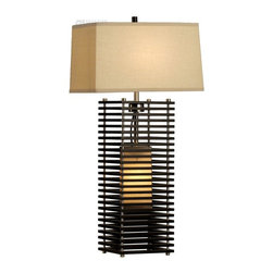 Nova Lighting - Nova Lighting Kimura Transitional Standing Table Lamp X-02401 - A slatted frame done in Dark Brown tones helps to diffuse the light from the secondary accent light, while also creating an elegant look to this Nova Lighting table lamp. From the Kimura Collection, this Nova Lighting transitional table lamp also features Brushed Nickel accents and warm fabric tones that pull the design together.