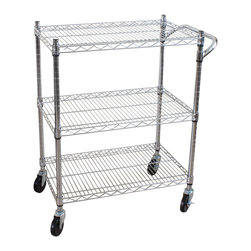 Oceanstar 3 Tier Heavy Duty All-Purpose Utility Cart - The Oceanstar Heavy Duty All-Purpose Utility Cart is the ideal solution for all your storage needs. Made with heavy duty chrome plated steel, the utility cart is perfect for the home, kitchen, warehouse, office, garage, restaurants�etc. The steel wire construction offers sturdiness stability with the capacity to hold up to 400 pound or 500 pound when it is not moving. The four castors provide easy transportation while the shelves are adjustable to any height. The Oceanstar heavy duty all-purpose utility cart is not only functional and durable, but an ideal addition to any home or work environment to simplify your storage and transportation needs.