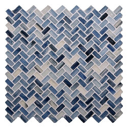 "Glass Tile Oasis - Pacific Blue Herringbone Blue Pool Frosted Glass - Sheet size:  Approx .99 Sq. Ft.     Tile Size:  1/2"" x 1""     Tiles per sheet:  64     Tile thickness:  1/4""     Recycled Components:   70%     Sheet Mount: Paper Face    Sold by the sheet    -  Waterfall glass tiles are each a one of a kind work of art. Each style features complimentary colors  shot through with transparent layers of contrasting colors. Mosaics are stacked together creating a unique repeating pattern.Waterfall are hand-poured and will have a certain amount of variation and variegation of color  tone  shade and size. Additionally  you will notice creases  wrinkles  shivers  waves  bubbles topped off with a natural surface to catch all forms of light for a brilliant effect. These characteristics of natural glass only serve to enhance the final beauty of the installation."