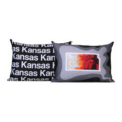 "Cartoloji - Kansas Map Pillow, Charcoal - The pillow features a topographical map of the state on the front and the state name text on the reverse. Pillow cover is made from 100%  certified organic cotton sateen and is printed with eco-friendly inks. Pillow insert is a non-allergenic faux-down poly-fill. Pillow dimensions: 17"" x 17"". Hand wash or dry clean. Made in the USA. Listing is for 1 double sided pillow."
