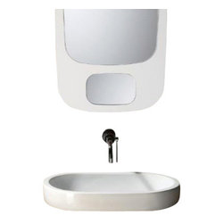 GSI - Oval-Shaped White Ceramic Vessel Bathroom Sink, No Hole - Contemporary oval shaped white ceramic vessel bathroom sink. Washbasin comes with no overflow and no hole. Made in Italy by GSI.