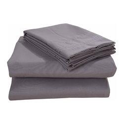 Honeymoon - Honeymoon super soft 4PC Bed Sheet Set, Easy Care, Gray, Queen - Microfiber polyester