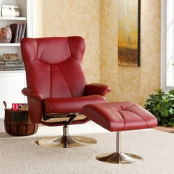 Southern Enterprises Manhattan Recliner and Ottoman - Brick Red