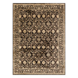 """Loloi Rugs - Loloi Rugs Mystique Collection - Espresso, 2'-0"""" x 3'-0"""" - Tapping into one of today's hottest trends, the brilliantly distressed Mystique Collection offers the look of aged hand-knotted rugs in an affordable power-loomed construction. Made in Egypt of polypropylene/viscose, these rugs are intentionally created with worn patterns to give the appearance of true antiques. Available in ten transitional and updated traditional designs, Mystique is colored with sophisticated bronze, brown, and beige hues."""