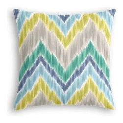 Green & Lime Large Ikat Chevron Custom Throw Pillow - The every-style accent pillow: this Simple Throw Pillow works in any space.  Perfectly cut to be extra fluffy, you'll not only love admiring it from afar but snuggling up to it too! We love it in this giant ikat chevron in bright blue, greens, and grays on smooth sateen. This flame stitch will set your decor ablaze.
