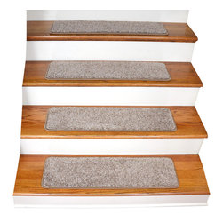 """Dean Flooring Company - Dean Tape Free Non-Slip Pet Friendly Carpet Stair Treads, Beige - Quality, stylish ultra premium stair gripper non-slip carpet stair treads by Dean Flooring Company. Extend the life of your high traffic hardwood stairs. Reduce slips/increase traction. Cut down on track-in dirt. Great for pets and pet owners. Made in the USA from quality, long lasting stain resistant 60 oz. plush soft carpeting with non-slip padded foam backing. Stands up great to high traffic. A fresh new look for your staircase. Do-it-yourself installation is quick and easy with our unique non-slip backing. Simply place your stair tread rugs on your staircase and go. No tapes, adhesives, staples, glue, or Velcro needed. And rest assured, they won't move and they won't damage your hardwood either. They are also simple and easy to remove as well with no sticky residue left behind. Each tread is finished on all four sides with attractive color matching binding tape. No bulky fastening strips. You may remove your treads for cleaning and re-attach them when you are done. Set includes 15 pieces. Each tread measures approximately 30"""" x 9"""". Add a touch of warmth and style to your stairs today with new stair treads from Dean Flooring Company! We make our own stair treads at Dean Flooring Company and our products are not available from anyone else."""