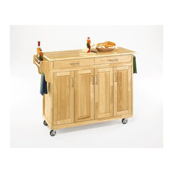 Home styles home styles create a cart 49 inch wood top for Home styles natural kitchen cart with storage