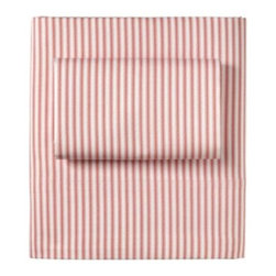 Serena & Lily - Ticking Stripe Sheet Set Barn Red - Looking for a new basic? You simply can 't go wrong with our riff on this tried-and-true stripe. Not only is it printed on the softest cotton, but it also pairs well with everything from solids to prints.