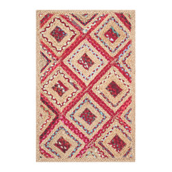 Safavieh - Charleston Hand Woven Rug, Natural / Red 2' X 3' - Think coastal living and casual beach house style with rugs so classic they ll even work in the city.  Safavieh's natural fiber rugs are soft underfoot, textural, natural in color and woven of sustainably-harvested sisal and sea grass, or biodegradable jute fibers twice-washed for unrivaled softness and beauty.
