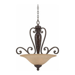 Triarch - Triarch Jewelry Pendant Light X-24413 - The Jewelry Collection 1-Light Pendant in Harvest Bronze with Mosaic Glass Accents for a rich look