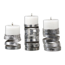 Abstract Tamaki Silver Candleholders, Set of 3 - *Abstract In Design, These Candleholders Feature A Metallic Silver Finish. Distressed White Candles Included. Sizes: Sm-5x4x5, Med-5x6x5, Lg-5x8x5.