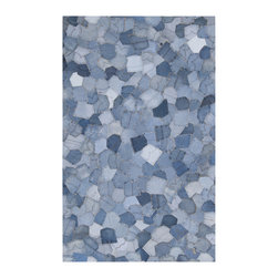 EcoFirstArt - Denim Mosaic Pockets Rug - Celebrate the history of North American denim with this whimsical rug, crafted entirely from back pockets of blue jeans. This handmade mosaic rug is made from 100 percent recycled denim, and is available in your choice of sizes.
