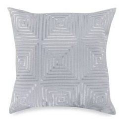 Kas Australia - KAS White Ginko 14-Inch Square Toss Pillow - This uniquely constructed toss pillow features a satin stitch maze of embroidery that creates an allover geometric pattern and an exciting complement to the Ginko bedding. 100% polyester cover and fill.