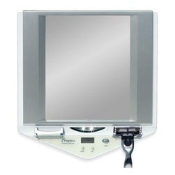 Zadro - Z' Fogless LED Lighted Fog-Free Shower Mirror with LCD Clock - This 1 X magnification, unbreakable mirror has a patented fog-free coating for use in the shower. LED lights come on automatically and shut off after five minutes, making for easy seeing while shaving, applying facial treatments, or removing make-up.
