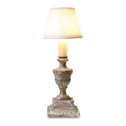 "Kathy Kuo Home - Pair Lucette Small 14"" French Country Pleated Shade Table Lamp - A petite lamp made to resemble a wooden urn with a pleated shade will light up the smallest spaces of your home.  Price marked is for a pair."