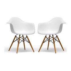 Wholesale Interiors - Pascal White Plastic Chairs, Set of 2 - The retro simplicity of these classic white accent chairs will instantly enhance the modernity of your room. Each of these contemporary chairs is made from durable molded plastic with an ergonomically-shaped and curved seat. The legs are wooden and include steel hardware in black as well as black plastic tips to protect sensitive flooring. Assembly is required. Set of 2.