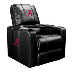Dreamseat Inc. - University of Alabama NCAA Red A Home Theater Plus Leather Recliner - Check out this Awesome Leather Recliner. Quite simply, it's one of the coolest things we've ever seen. This is unbelievably comfortable - once you're in it, you won't want to get up. Features a zip-in-zip-out logo panel embroidered with 70,000 stitches. Converts from a solid color to custom-logo furniture in seconds - perfect for a shared or multi-purpose room. Root for several teams? Simply swap the panels out when the seasons change. This is a true statement piece that is perfect for your Man Cave, Game Room, basement or garage. It combines contemporary design with the ultimate comfort from a fully reclining frame with lumbar and full leg support.