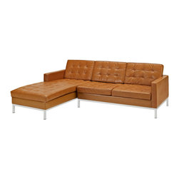 LexMod - Loft Left-Arm Leather Sectional Sofa in Tan - The mid-20th century was a time when hopes were at their highest. Technological developments were bustling forward, and the new world was just barely visible in the distance. But this time also presented a dilemma of sorts. The test of this forthcoming era was to be whether industry would foster comfort or stifle it. What makes the Loft series so complete? At first glance, it displays a pleasant linear design with an external tubular stainless steel frame. The back and seat are tufted and buttoned to enhance the overall richness of the piece. But can these aspects be said to define the totality of a classic? The answer then must be something profound. A thought that serves as representative of that era, while matching the sentiments of our present age. Our suggestion is that the Loft series conveys the potential of progress. From amidst the steel base, a comfortable seating experience is attained. From out of the exponential surge of technological growth, comes peace and solace. Perhaps this is why Loft is the sofa series of choice for so many Fortune 500 companies. Aside from its iconic feel, the set is symbolic of a time when technological innovation could do no wrong. When  faster  was seen only as something positive. The Loft series is the preferred choice for reception areas, living rooms, hotels, resorts, restaurants and other lounge spaces.