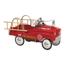 "InSTEP - Fire Truck Pedal Car - Whimsical yet functional memorabilia, InSTEP pedal cars are finely crafted from steel for a safe, fun ride - anywhere, anytime. Great as a gift or a decorative addition to a room, these classic pedal cars are fun for kids of all ages. Features: -Solid steel construction - Provides outstanding durability -Authentic detailing - Brings back memories of old times -Adjustable pedal drive - Fits a wide size range of children -Lead-free paint - For a safe and attractive finish -Functional steering - Provides true performance and easy use -Rubber tires and chrome hub caps - Finishes a great custom look -Dimensions: 42"" H ***Please note that these products cannot be shipped to Puerto Rico. We apologize for the inconvenience - feel free to call us regarding alternatives!"