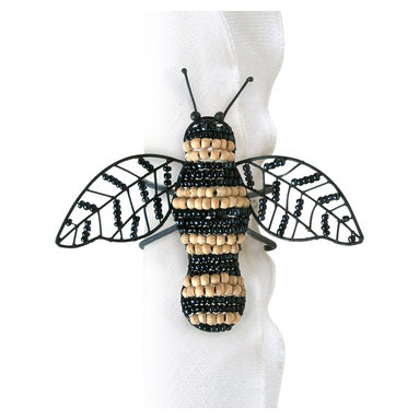 Wood Bead Bumble Bee Napkin Ring - A charming accent that inspires recollections of hazy spring days that are the harbingers of summer joyfulness. The Wood Bead Bumble Bee Napkin Ring whimsically captures the simple beauty of this familiar winged creature, and imparts wonderful charm to your dining room tablescape, an outing on the terrace, or a picnic luncheon.