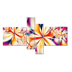 "Crystalize - Pink Canvas Art Set - 60 x 36 - 4 Panels - This ""Crystalize"" pink and white abstract floral artwork design is printed in high quality fade resistant ink on premium quality cotton canvas. This abstract design is sure to be the center piece of any room it is placed in. All of our graphic canvas prints are gallery wrapped around solid wood subframes, carefully packaged and arrive to you, ready to hang on the wall. Our printing technology allows for a crisp, deep canvas print which is  never pixelated."