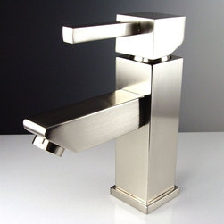 """Fresca - Fresca Versa Single Hole Mount Bathroom Vanity Faucet - Brushed Nickel - Clean, modern lines combine with quality construction in the FFT1030BN Fresca Versa Bathroom Vanity Faucet in brushed nickel. Crafted of 100 percent solid brass to resist water damage, this single-hole vanity faucet features a triple brushed nickel finish that resists rust and spots and a ceramic disc valve for watertight efficiency. It measures W 1 5/8"""" x D 6"""" x H 6 3/4"""" with a 4 3/8"""" spout reach, and the angled design and contemporary style enhance the decor of any powder room."""