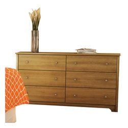 South Shore - South Shore Breakwater 6 Drawer Double Dresser in Harvest Maple - South Shore - Dressers - 3126010 - The South Shore Breakwater Double Dresser in Harvest Maple finish has simple and elegant lines. The transitional lines are soften by the decorative kick plate and the Nickel finish metal knobs. These features are definitely adding character and value to this unit. Your storage needs are going to be fulfilled by its six drawers equipped with plastic slides.