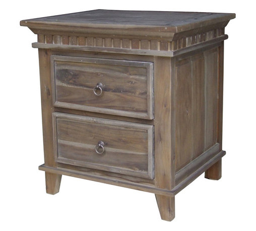 Four Hands - Solid Wood Two-Drawer Nightstand in Toffee Finish - A hardy rustic look with added glamour. That's what you get with this solid wood two-drawer nightstand. Whether thinking of a cabin in the woods, on a lake or mountain, this nightstand fits just as perfectly in any of those scenarios as it does in a renovated warehouse space or suburban home. Versatile, rustic and absolutely stylish, this nightstand has a carved dental molding around the top. Two framed drawer fronts with ring pulls and a warm toffee finish that�s been given an aged patina for that perfectly weathered appearance.