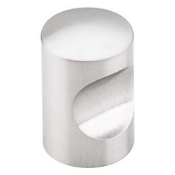 "Top Knobs - Indent Knob 5/8"" - Brushed Stainless Steel - Width - 5/8"", Projection - 1"", Base Diameter - 5/8"""