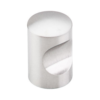 """Top Knobs - Indent Knob 5/8"""" - Brushed Stainless Steel - Width - 5/8"""", Projection - 1"""", Base Diameter - 5/8"""""""