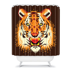 Chobopop Geometric Tiger Shower Curtain - This shower curtain blends the look of modern Southwestern style with a bit of fall flair.
