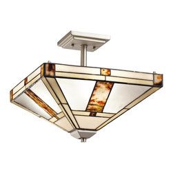"""Kichler - Tiffany Kichler Bryce 14"""" Wide Art Glass Nickel Ceiling Light - The Bryce collection from Kichler blends classic styles and new materials for artful stylish pieces. This semi-flushmount ceiling light features panes of art glass in off-white and amber tones with cut stone elements. Brushed nickel hardware adds a modern touch. A versatile stylish ceiling light for transitional spaces. From the Bryce collection. Brushed nickel finish. Art glass and cut stone shade. Takes three 100 watt bulbs (not included). 14"""" wide. 12 1/4"""" high. Canopy is 5"""" square.  From the Bryce collection.  Brushed nickel finish ceiling light.  Art glass and cut stone shade.  From the Kichler lighting collection.  Takes three 100 watt or equivalent bulbs (not included).  14"""" wide.  12 1/4"""" high.  Canopy is 5"""" square."""