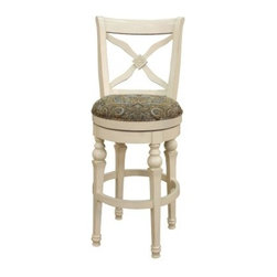 AHB Livingston Swivel Bar Stool - Update your kitchen or counter setting with the classic style of the Livingston Swivel Bar Stool. This stool features an all wood construction with finish options in antique white or sienna. Its comfortable seat offers thick padding and upholstery in antique white and sienna. Other features of this charming stool include turned legs round foot rail and a handy swivel design. Please note: This item is not intended for commercial use. Warranty applies to residential use only.
