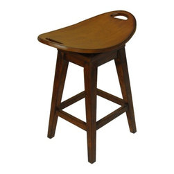 "Carolina Accents - Thoroughbred 26.75"" Backless Swivel Counter Stool in Cherry - Our Thoroughbred Stools are replicas of an antique with modern flair. The curved seats are deceptively comfortable and feature a return swivel mechanism. These stools are finished in our rich ""old world"" cherry and are available in table, counter, and bistro heights. Features: -Counter stool. -Cherry finish. -Constructed of solid wood."