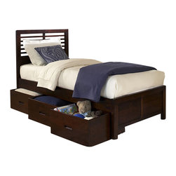 Homelegance - Homelegance Paula Captain's Bed with Storage Boxes in Cherry - Full - The refined European design in Paula collection looks fabulous with its charming modern look.